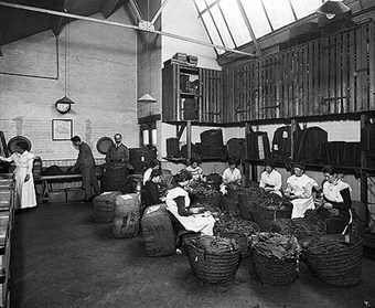 Turkish Leaf Room at the Teofani Cigarette Factory, Brixton, London, 1916. During the war, tobacco production increased to supply rations to the troops.