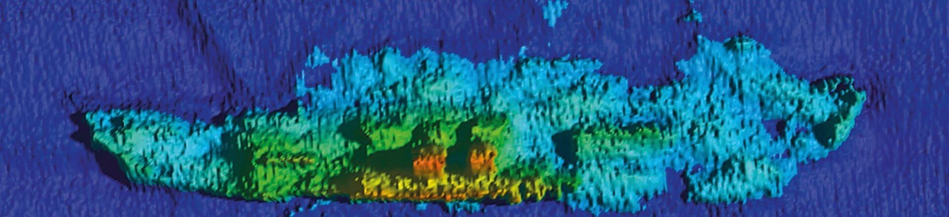 Sonar scan of the wreck of the SS Mendi lying off the Isle of Wight