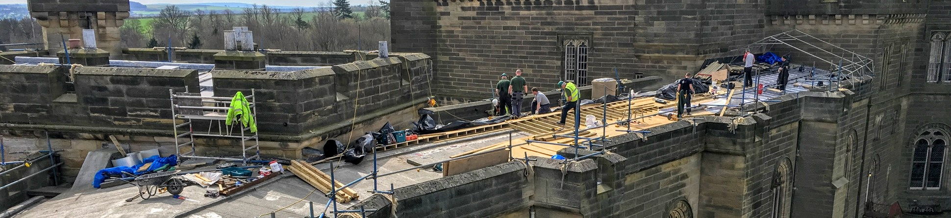 Repairs to Brancepeth Castle's roof and stonework underway.